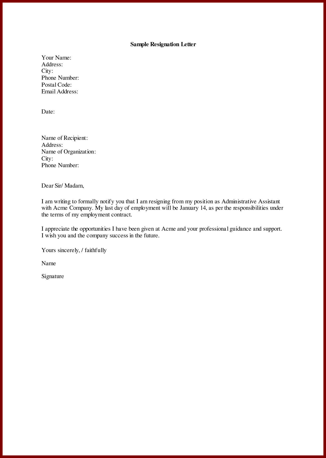 Sample of resignation letter for personal reasons capable imagine ...