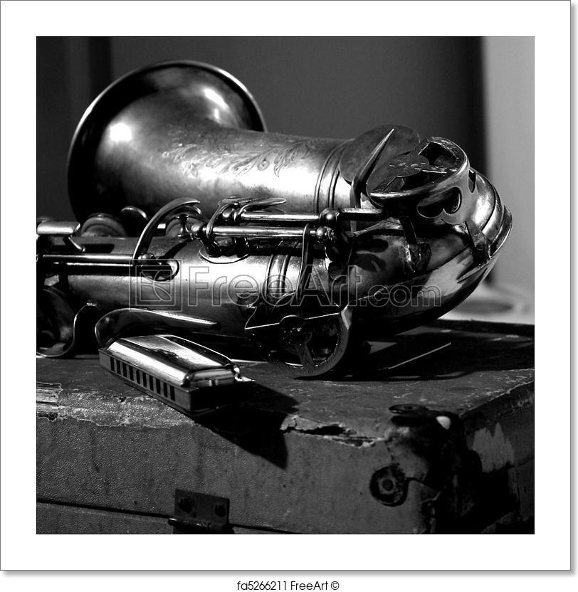 Saxophone harp blues jazz music in black white free art print of sax and harmonica