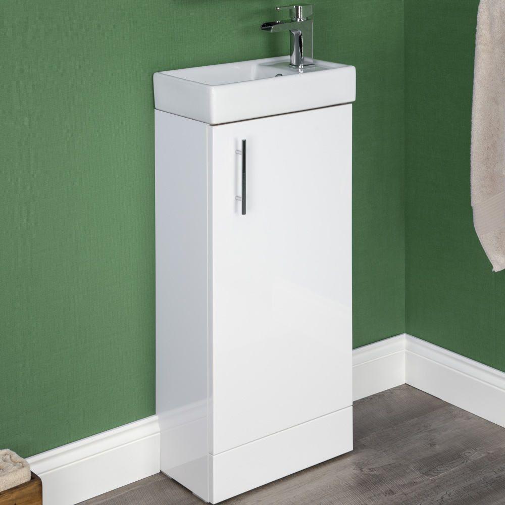 Kompakt Gloss White Floor Standing Cloakroom Vanity Unit With