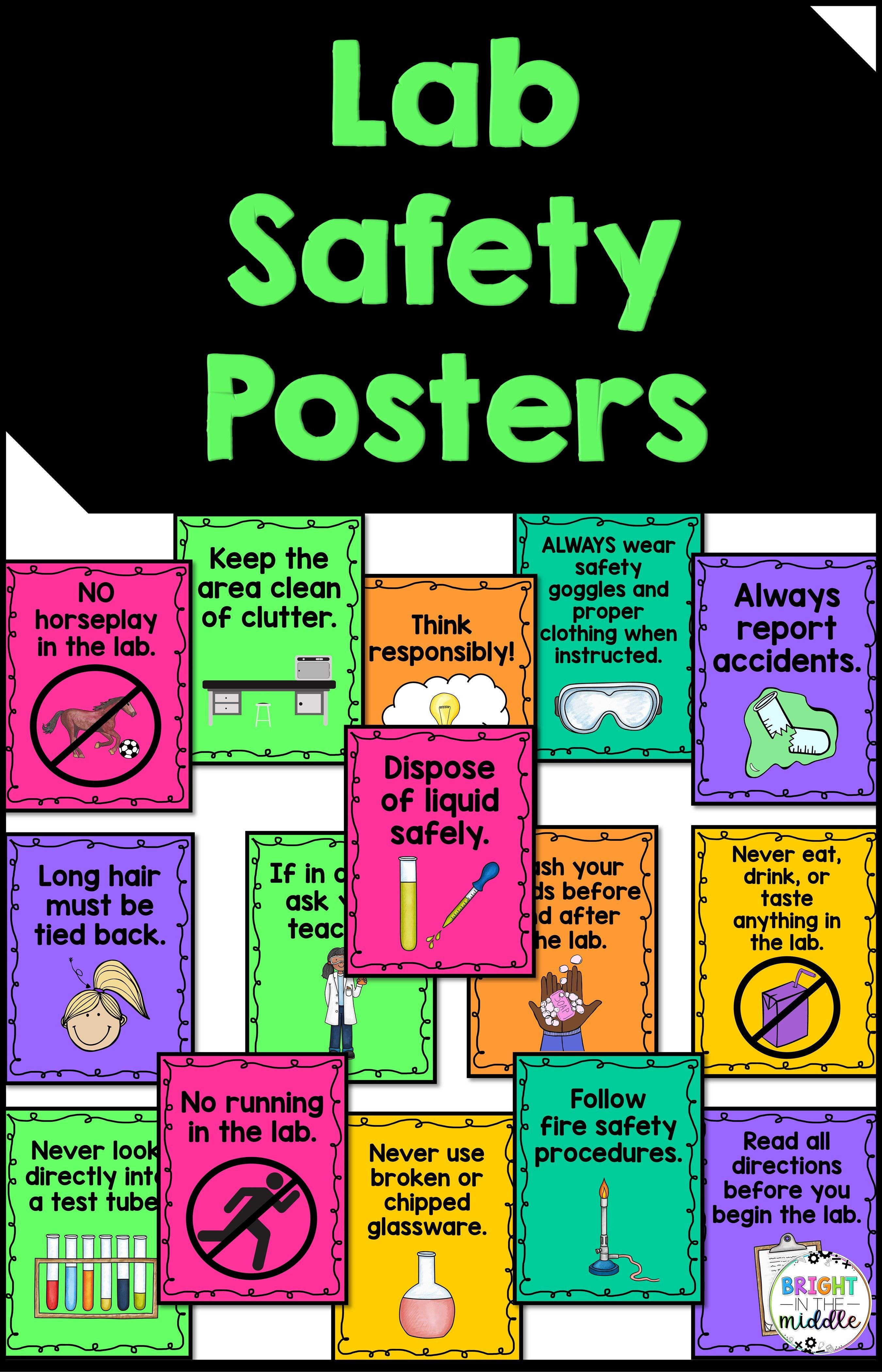 Lab Safety Posters For The Science Classroom