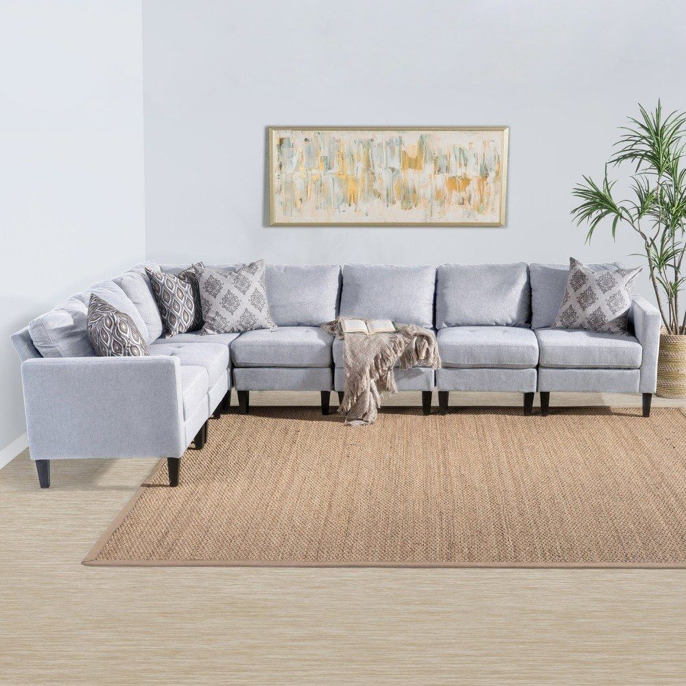 Best Zahra 7 Piece Fabric Sectional Sofa Set By Christopher 400 x 300