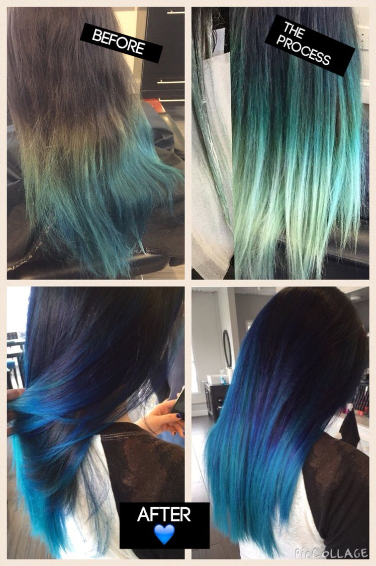 Before-After blue hair, balayage highlights, blue ombre ...