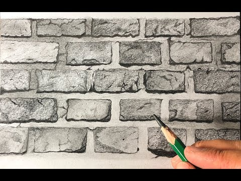 How To Draw A Realistic Brick Wall Texture With Graphite Pencils Youtube Brick Wall Drawing Wall Drawing Brick Wall