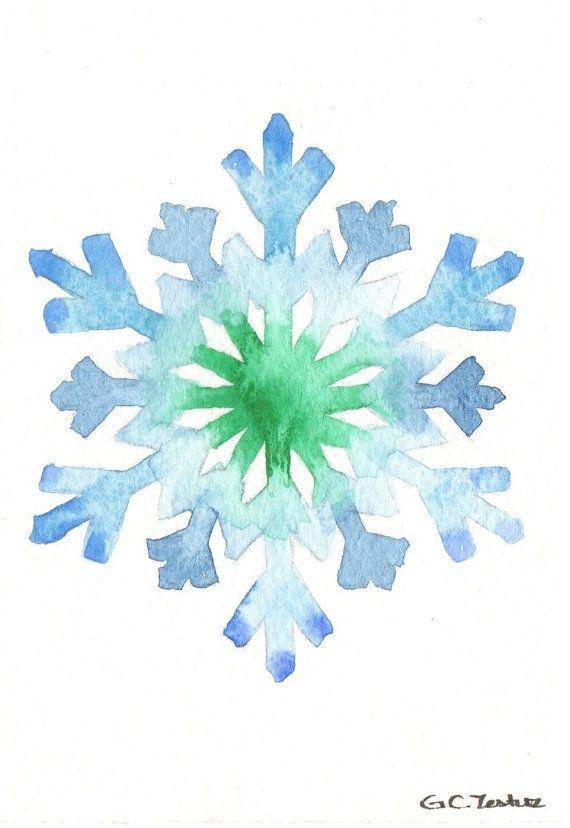 Original Watercolor Christmas Card Snowflake Watercolor