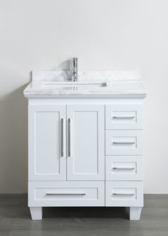 Accanto Contemporary 30 Inch White Finish Bathroom Vanity Marble Countertop 30 Inch Bathroom Vanity Small Bathroom Vanities White Vanity Bathroom