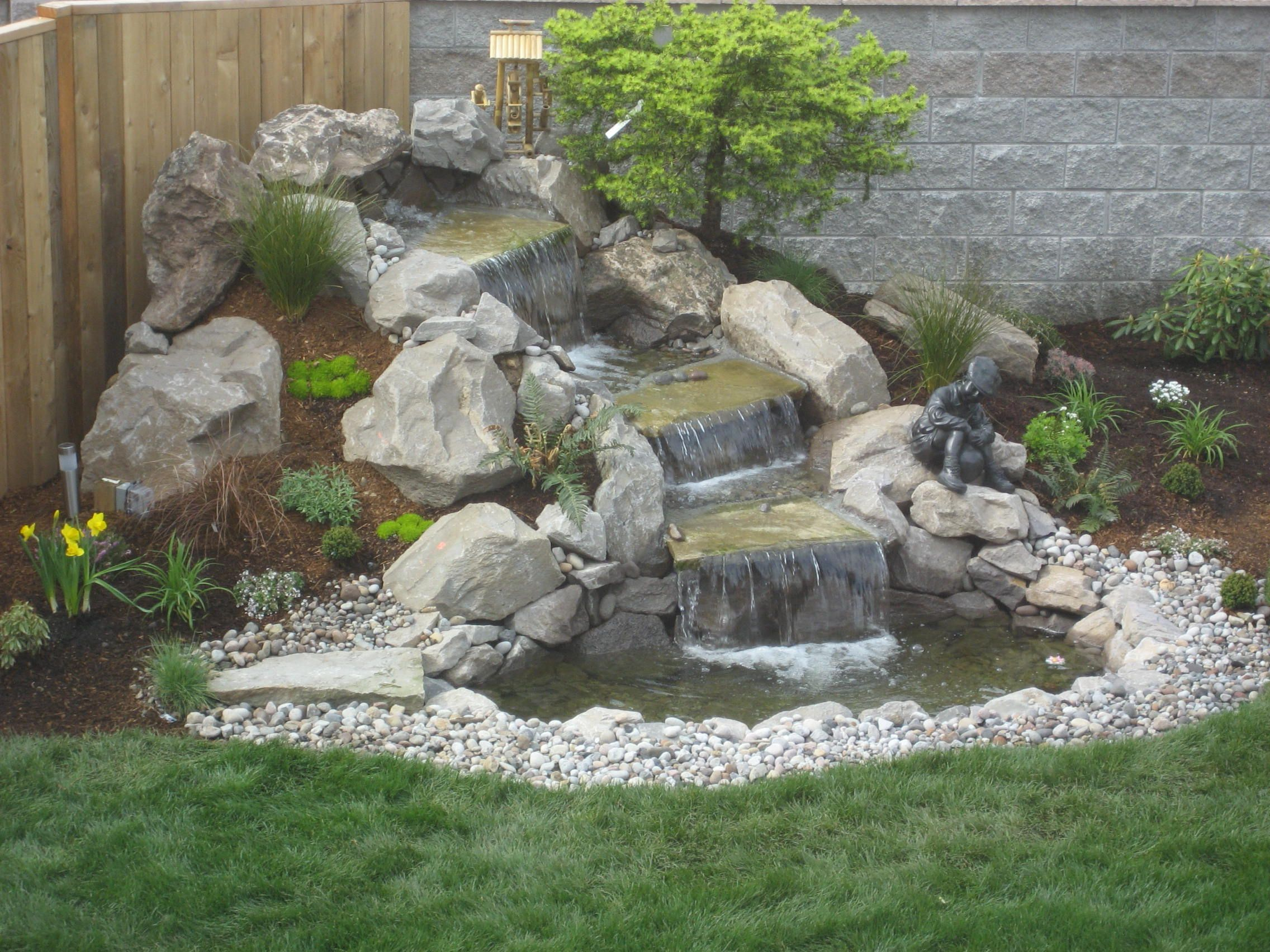 Natural Garden Waterfalls For Backyard Design Exterior