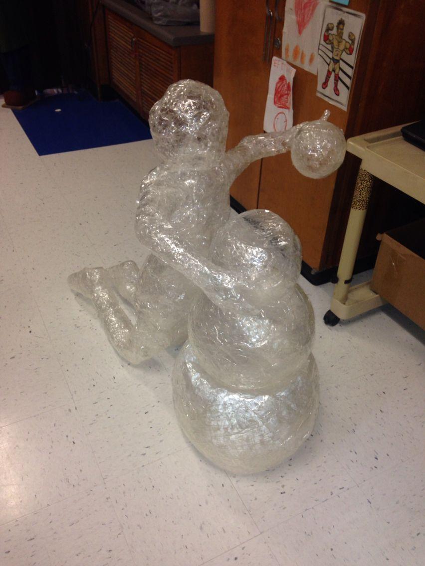Winter wonderland packing tape ice sculptures