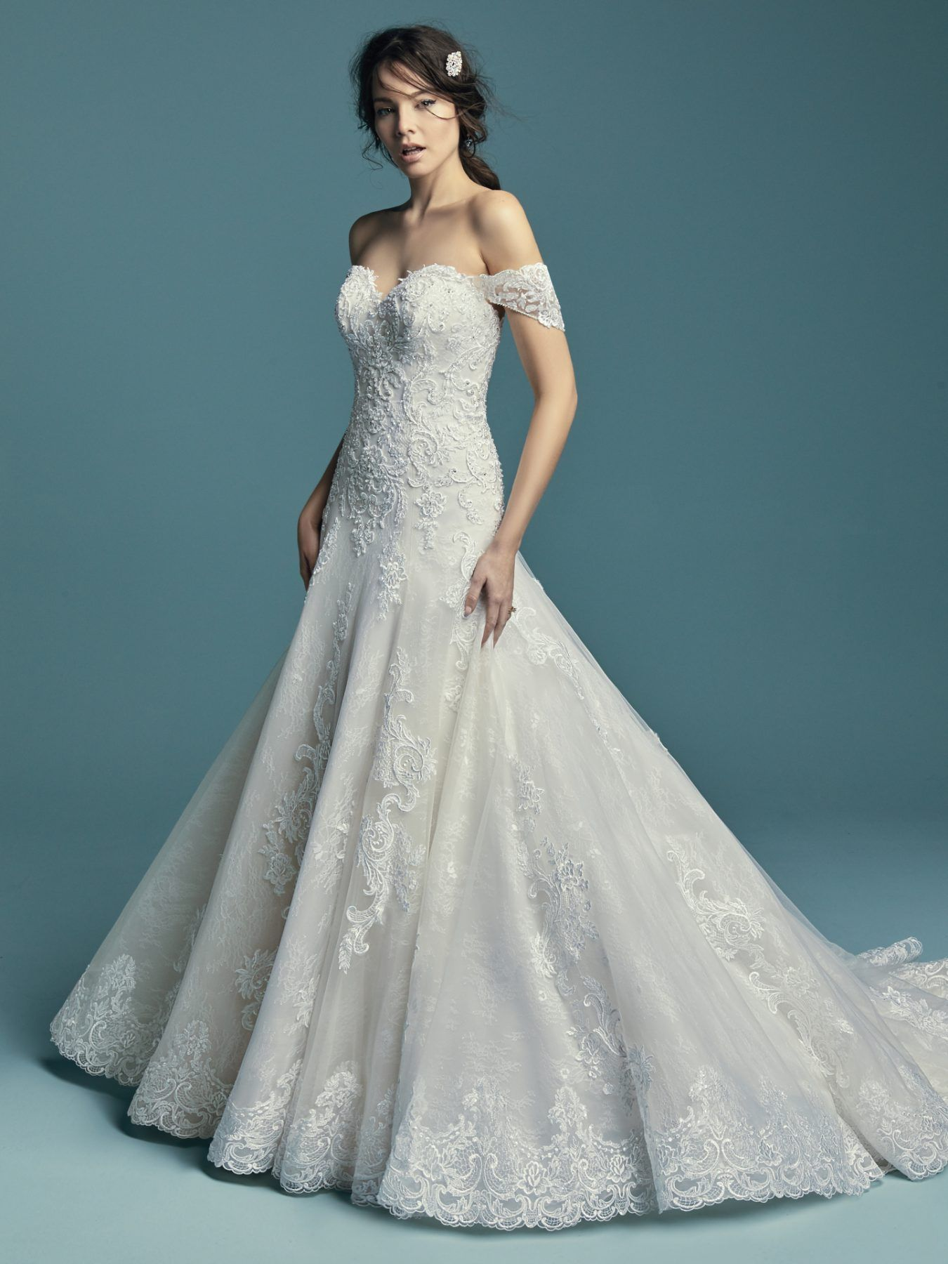 Beaded Off The Shoulder Sweetheart Bodice A Line Wedding Dress With