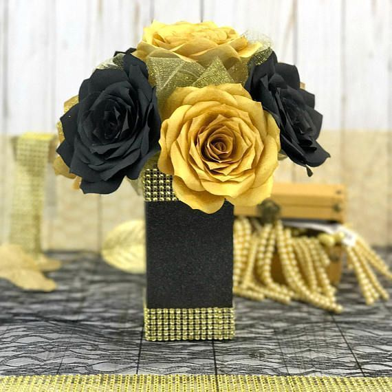 Gold and Black Paper Flower Centerpiece #paperflowercenterpieces Gold and Black Paper Flower Centerpiece #paperflowercenterpieces Gold and Black Paper Flower Centerpiece #paperflowercenterpieces Gold and Black Paper Flower Centerpiece #easypaperflowers