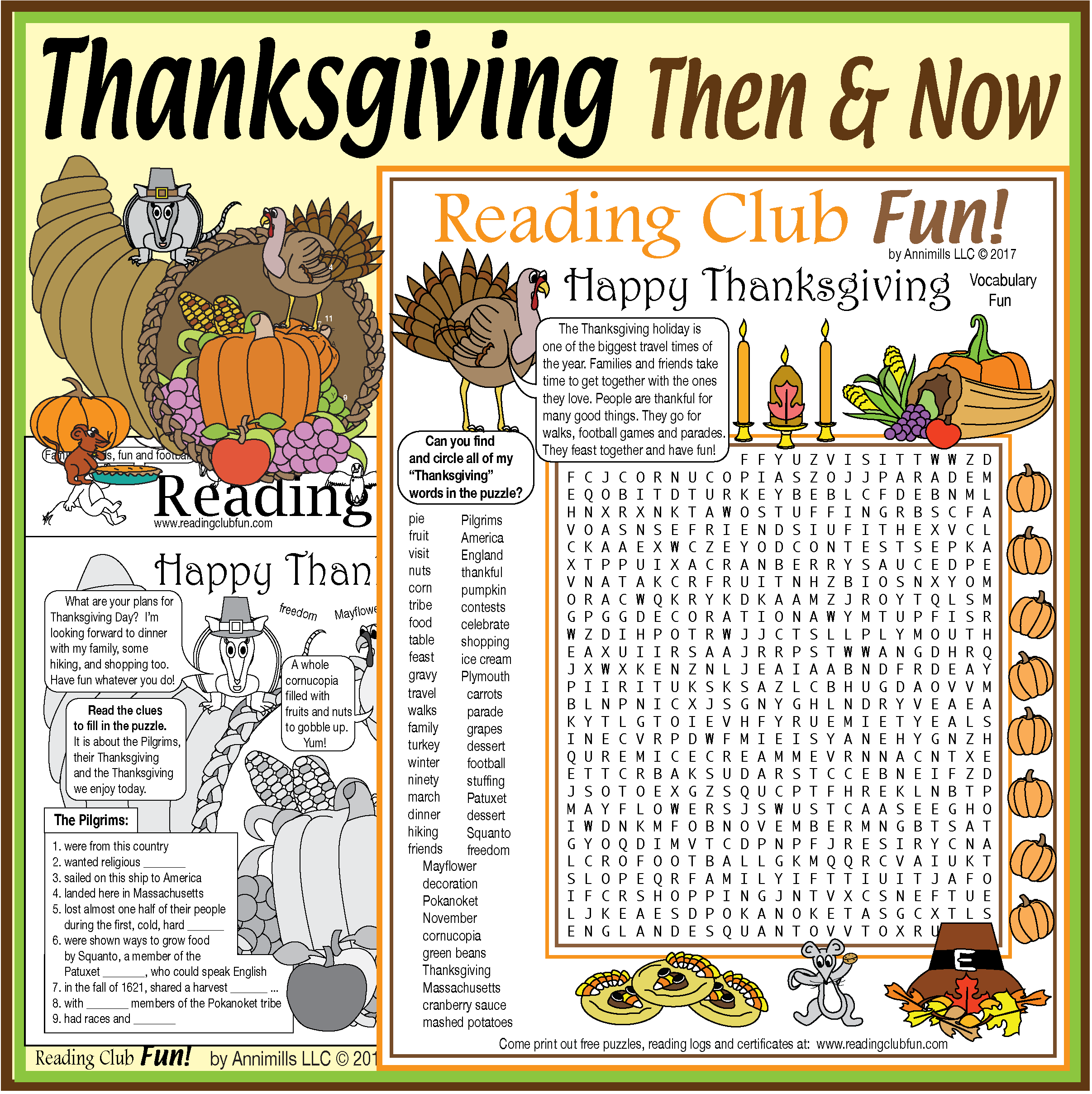 Thanksgiving Then And Now Puzzle Packet
