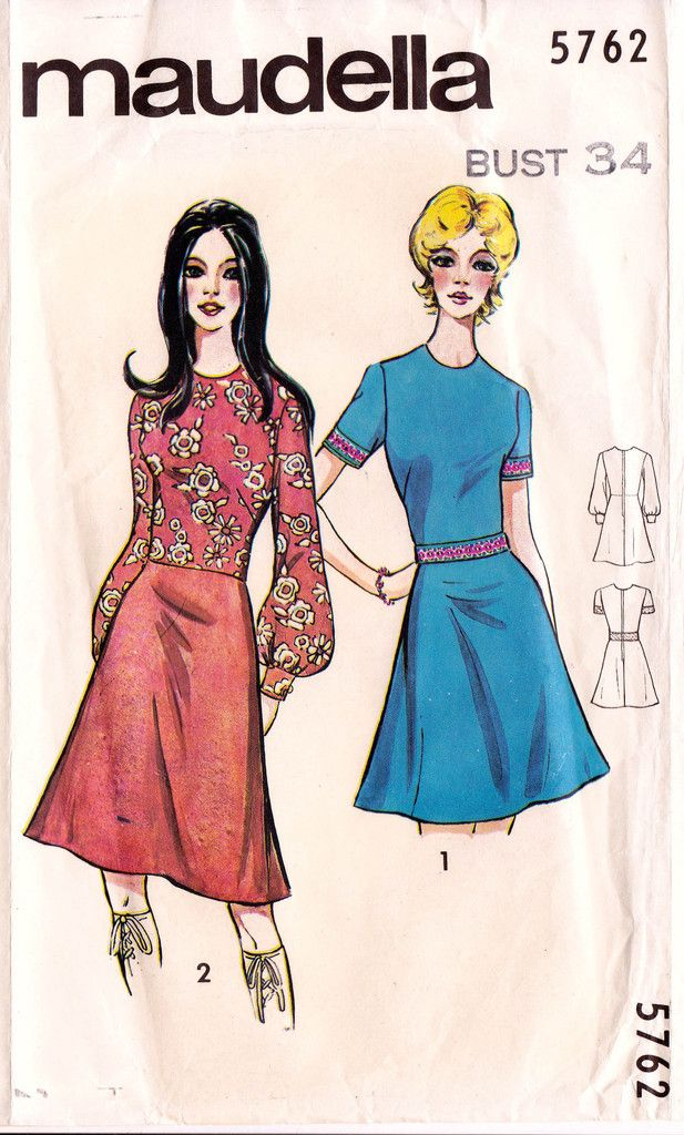 Maudella 5762 Vintage 60s sewing pattern Fit And Flarer dress pattern Bust 34 inches UNUSED Factory Folds