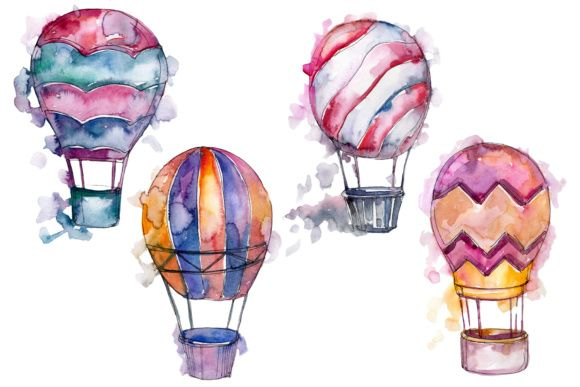 Watercolor Pink Hot Air Balloon Png Set Graphic By Mystocks