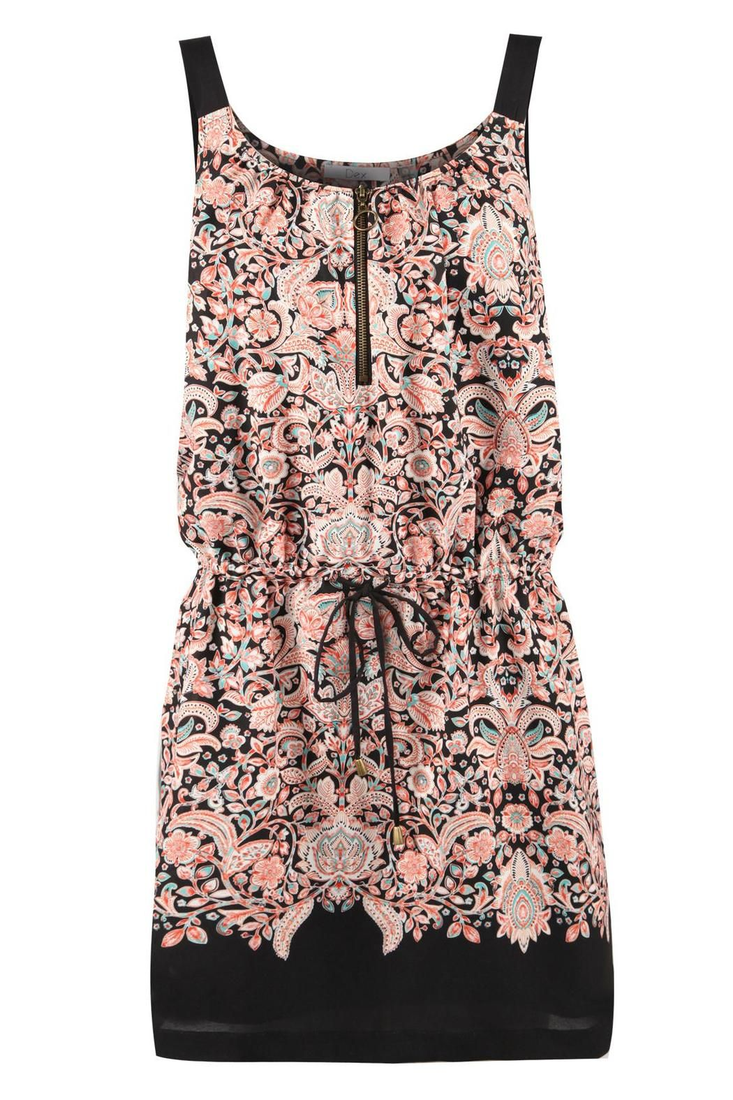 Sleeveless dress with a zipper front, self belt and floral print.   Floral Baroque Dress by AL Boutique. Clothing - Dresses - Casual Minnesota