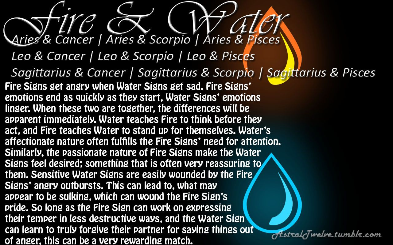Astrology: Fire Sign + Water Sign Compatibility | # ...