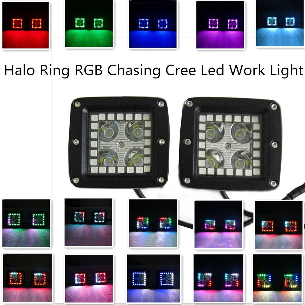 2 Pcs Cree Led Work Light With Rgb Halo Ring Chasing Remote Aliexpresscom Buy 43 Inch 288w Bar Wiring Kit Controller Color Morph 7