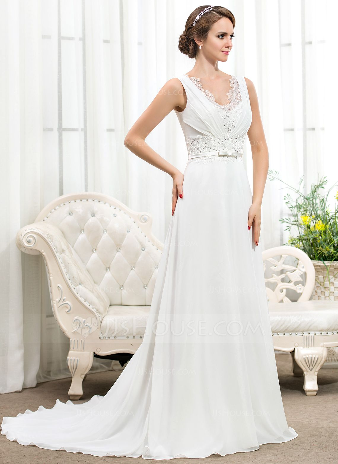 fe18dbf712d A-Line Princess V-neck Court Train Chiffon Charmeuse Wedding Dress With  Ruffle Lace Beading Sequins Bow(s) (002055921) - JJsHouse