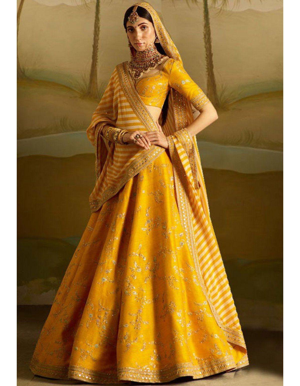 f007b9d454 Golden Yellow Designer Lehenga Choli Lehenga Wedding, Bridal Lehenga Choli,  Indian Lehenga, Sabyasachi