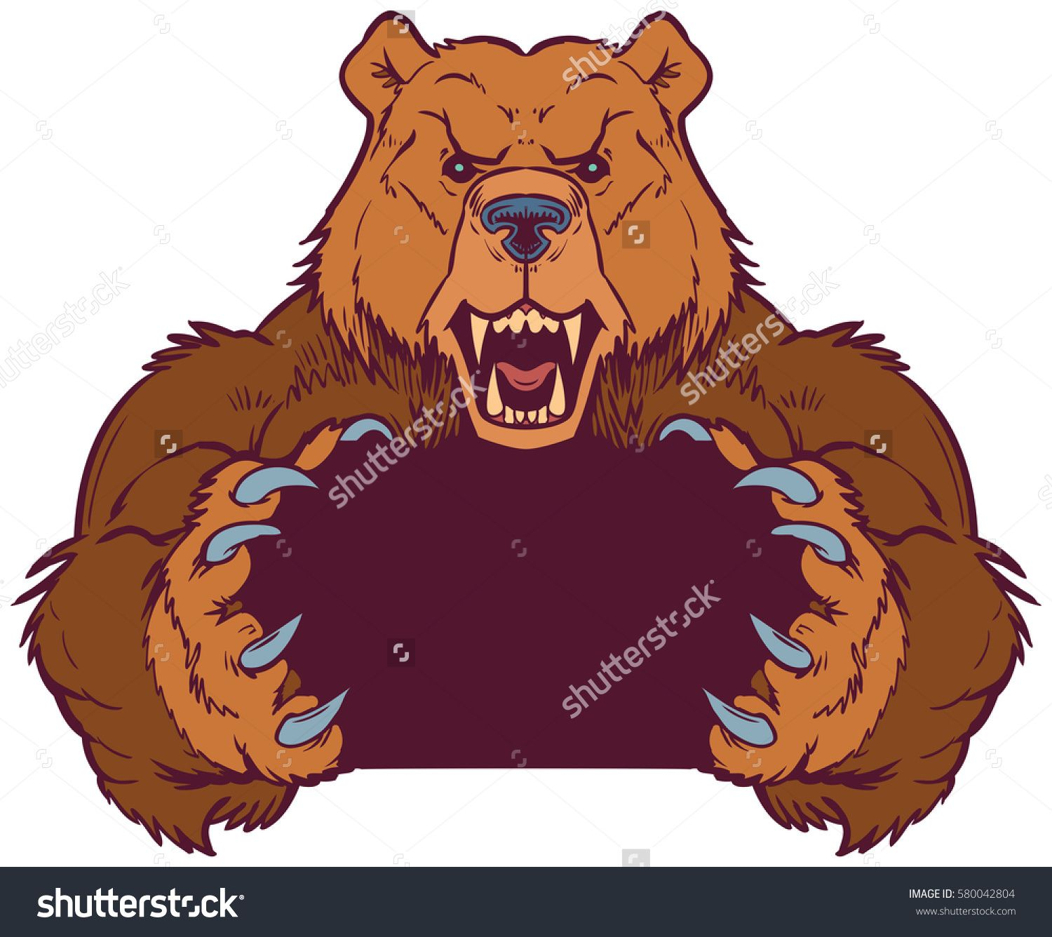 cartoon clipart illustration template of a brown bear mascot holding or gripping empty space between its claws vector layers are set up for easy  [ 1500 x 1336 Pixel ]