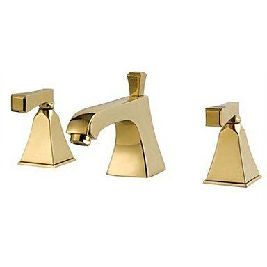 Klm Modern Widespread Bathroom Three Holes Sink Faucet In Gold With Double Handles 1123