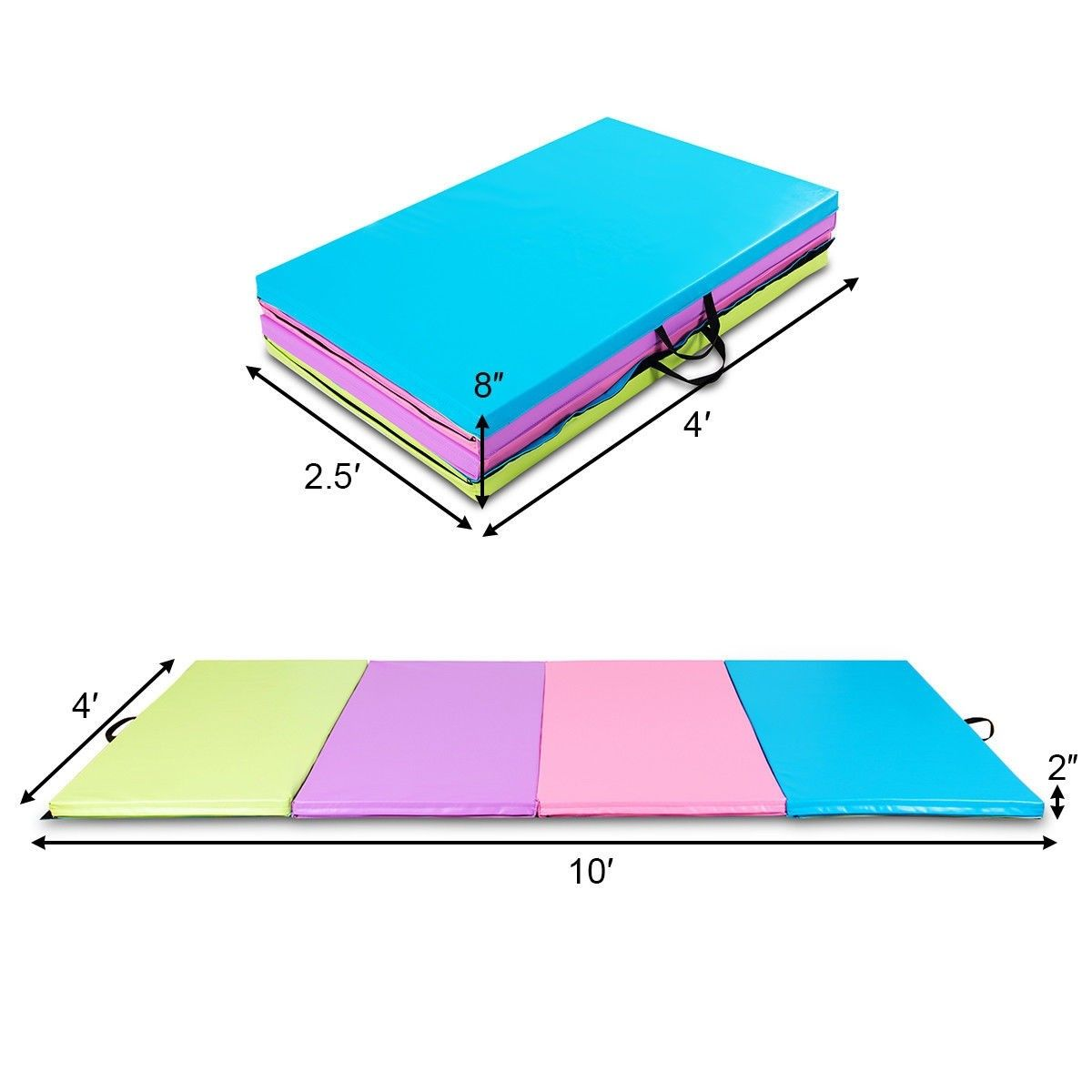 "4' x 10' x 2"" Multicolor Portable Folding PU Gymnastics"