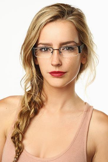 333ff43e47  Corin  Semi-Rimless Rectangular Clear Glasses - Copper Brown Brown -  5371-6.