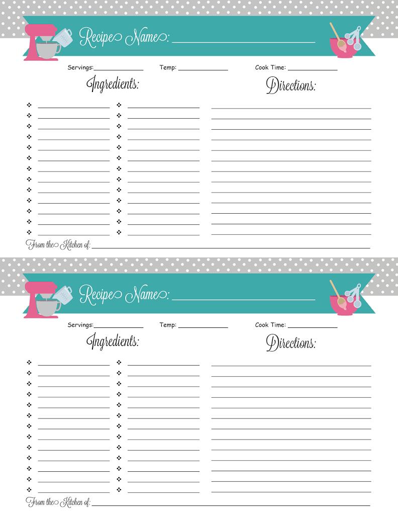 Binders 101: Recipes + a Printable! | Printable recipe ...