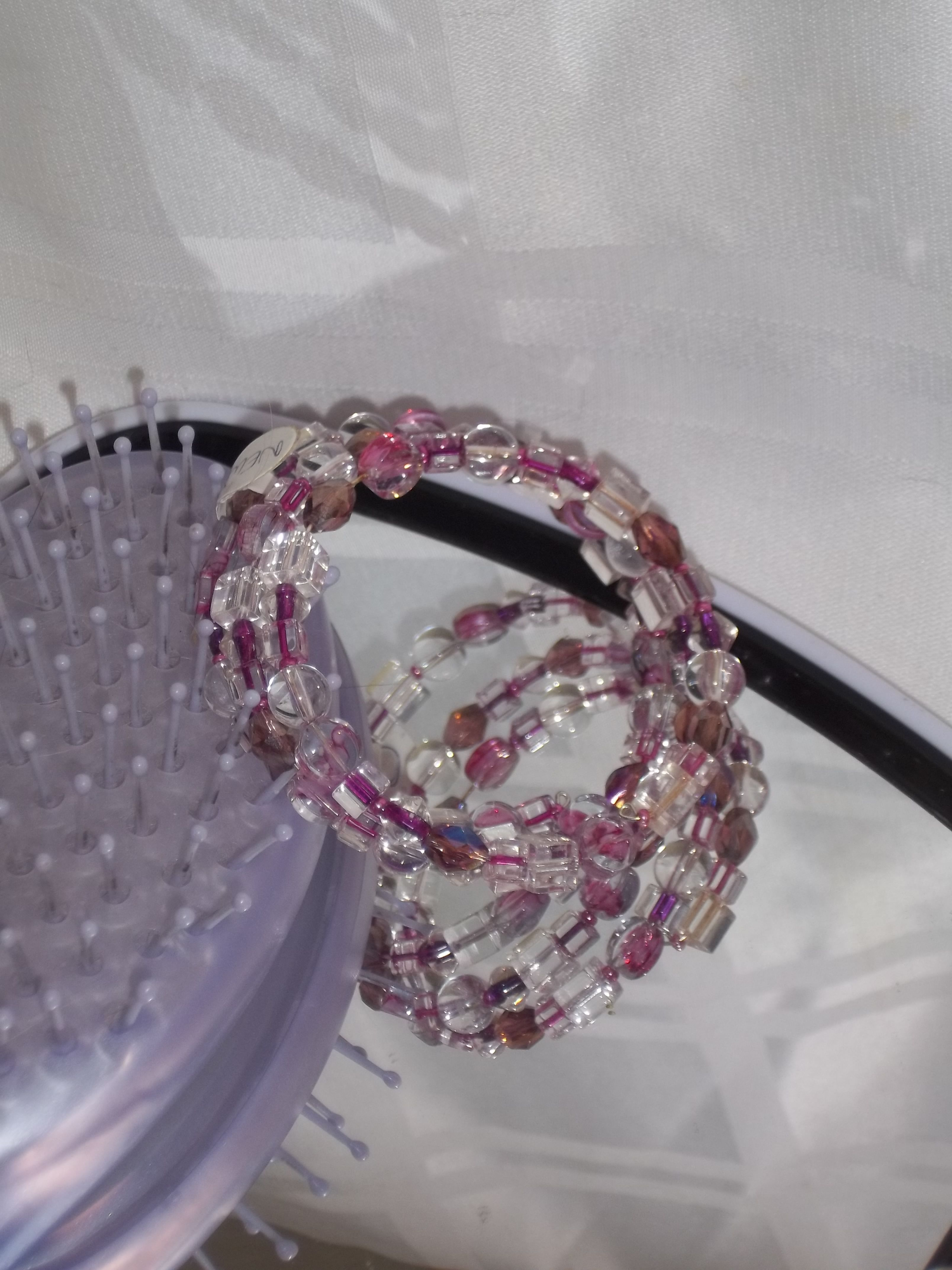 Pink and clear beaded memory wire bracelet