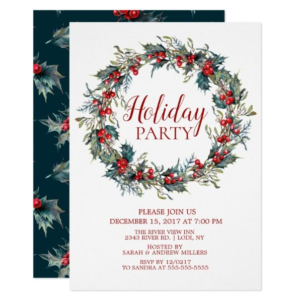Beautiful Christmas Bird Holiday Party Invitation Custom Office - holiday party invitation