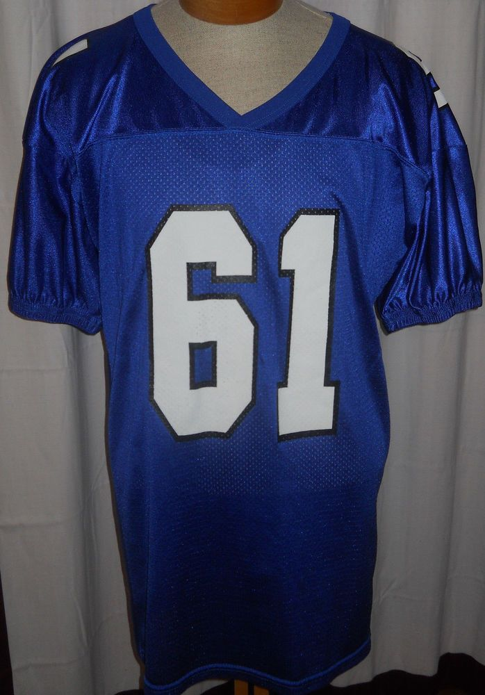 24767cf35af1d7 Vintage Nylon Wilson Football Jersey XL Royal Blue Practice 61 Smith USA  Made