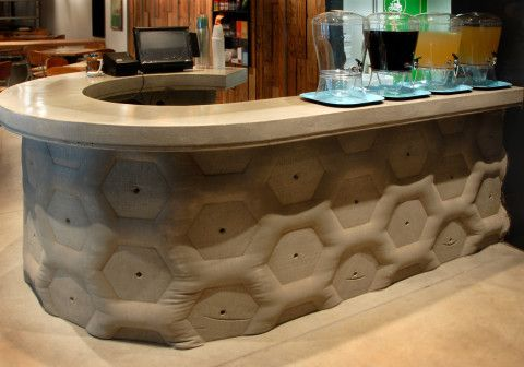 Elegant Fabric Formed Concrete Wall For A Restaurant In Phoenix, Arizona. Fabric  Form Casting Is