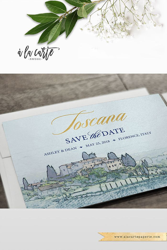 Destination wedding invitation Tuscany Florence Italy Navy Gold