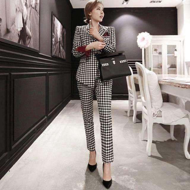 3fe99511d 2018 Womens Two Piece Pant Suits Women Casual Office Business Suits Formal  Work Wear Sets Uniform Blazers Slim Plaid Pant Suits