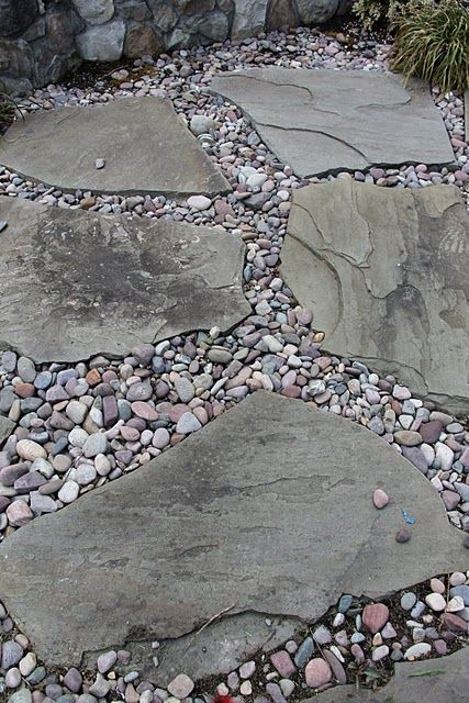Flagstone And Pebble River Rock Landscaping Ideas
