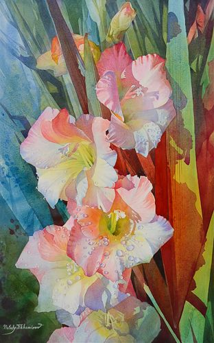 Red Shadow By Nataly Tikhomirov Watercolor Watercolor Flowers