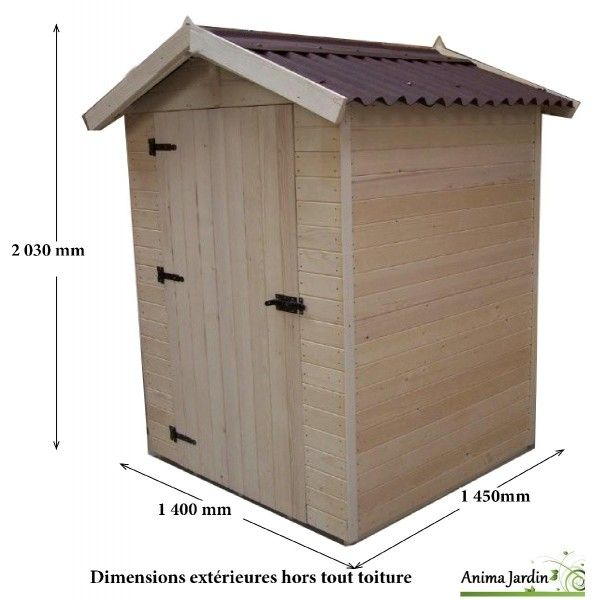 Abri de jardin bois, 2m² extérieur, petite taille, cabine plage ...
