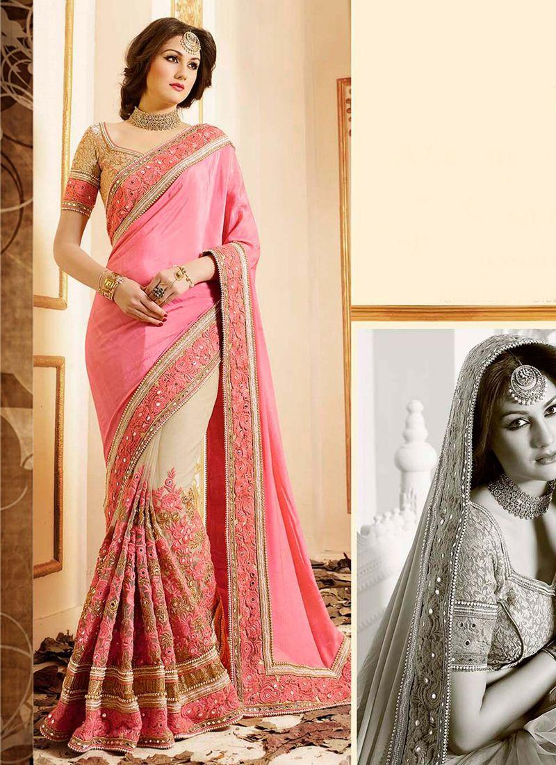 d169c5e732 Buy patch-border-work-party-wear-saree-pink-chiffon-1 through Online  Shopping from KollyBollyEthnics.com