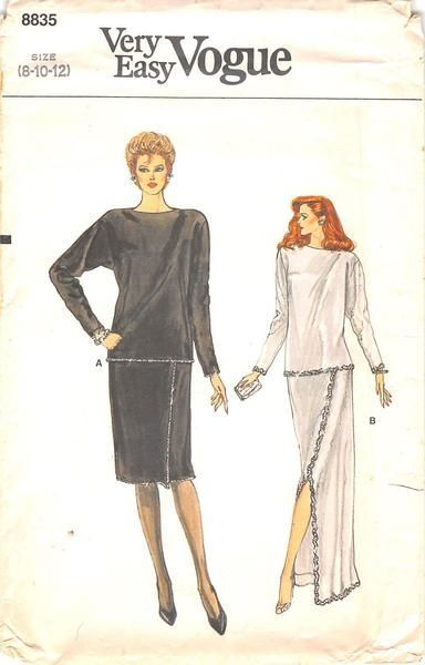 VOGUE 8853 - FROM 80S - UNCUT - MISSES TOP & SKIRT