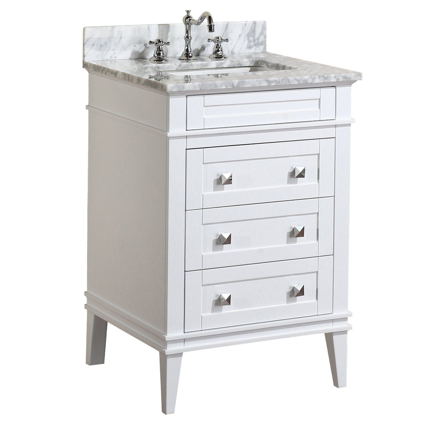 Eleanor 24 Inch Bathroom Vanity Carrara White Includes A White Cabinet Soft Close Drawers A