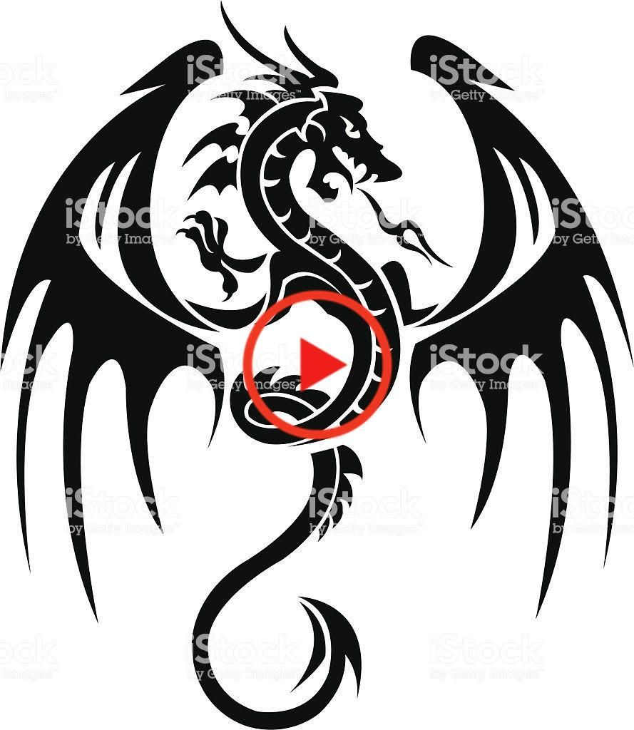 Download Dragon tattoo isolated on white Tribal dragon tattoos ...