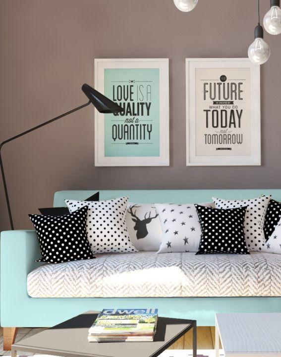 Wohnung im skandinavischen Stil Blog - wohnzimmer grau türkis