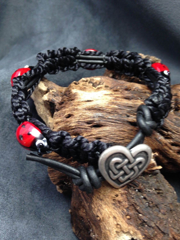 2dbf88aef Ladybug and Macrame bracelet. Ladybug bracelet. Ladybug lover. Boho macrame  and bead bracelet. Celtic heart button. by BeadStrungOut on Etsy