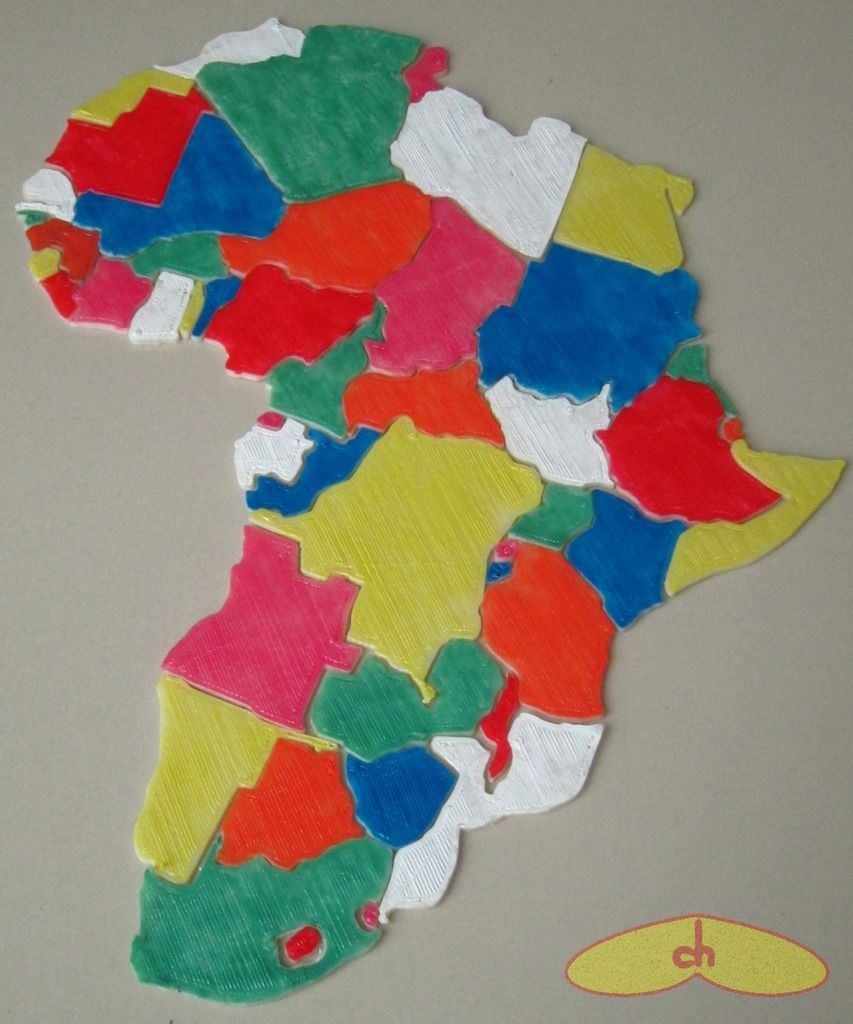 Africa map puzzle by chapulina. | Thingiverse 3D Prints: Puzzling ...