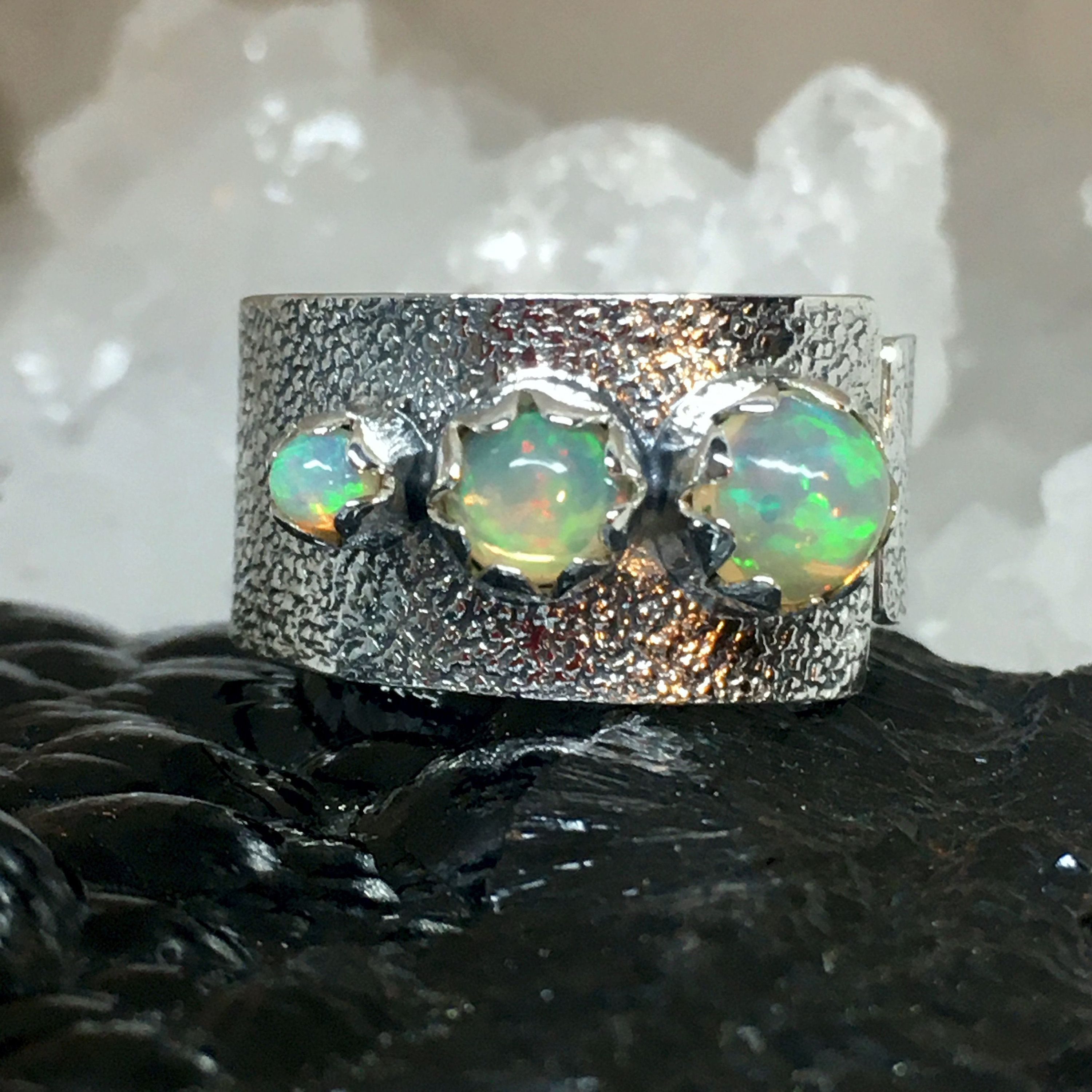 Unique Jewelry Opal Ring Designer Woman Ring, Ethiopian Solid Opals Opals Jewelry Hammered Ring Sterling Silver Ring Statement Ring