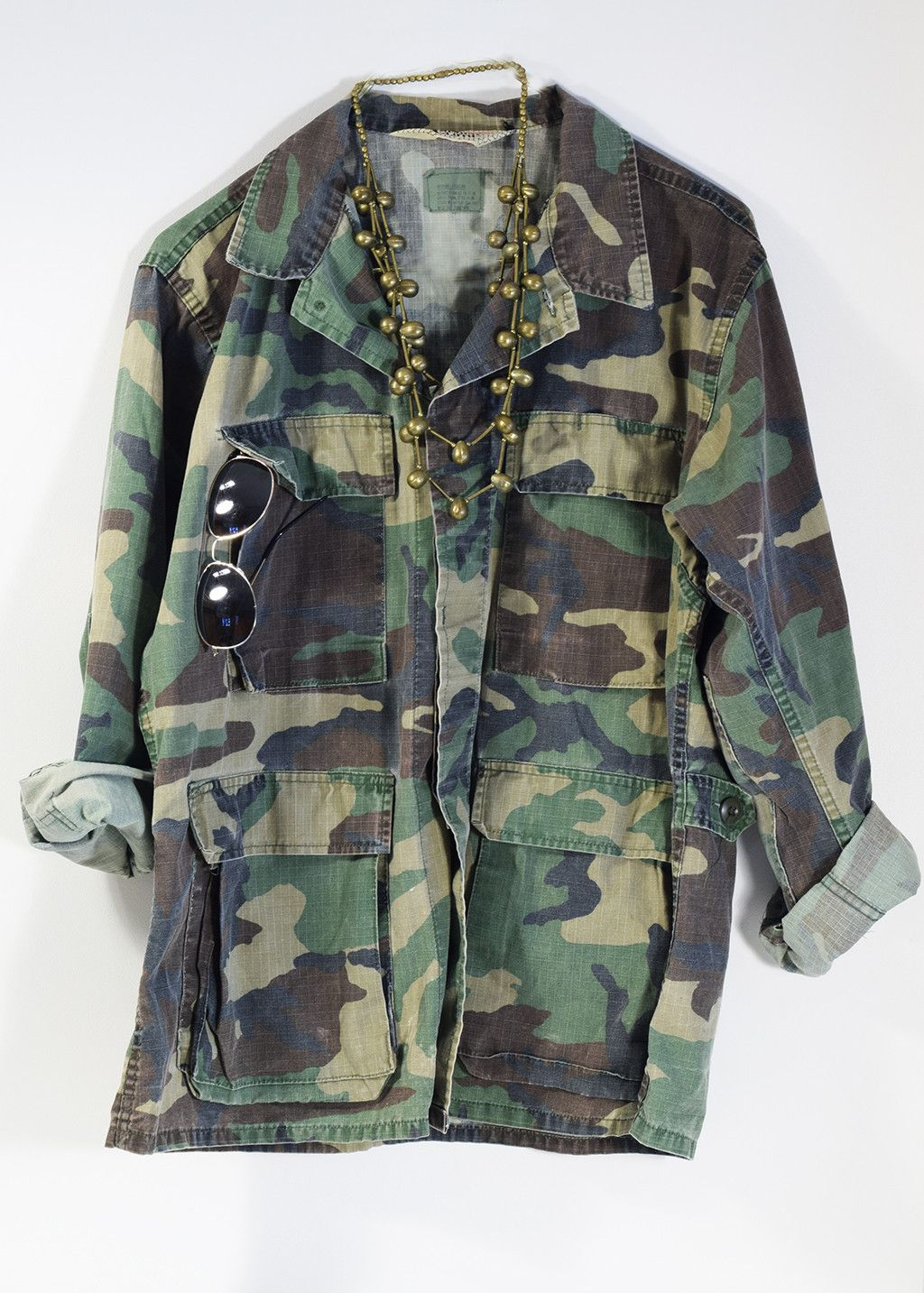 afe9c99e5 Vintage Military Jacket 70s Camo Army Issued Button Down Shirt All ...