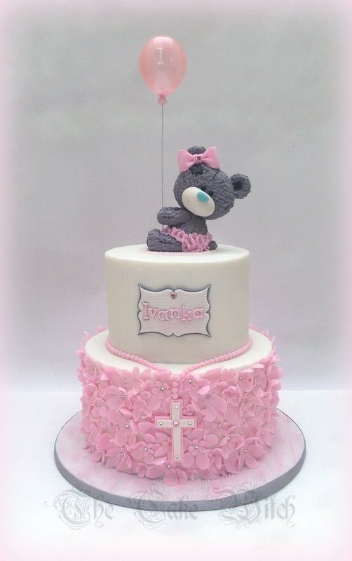 Tatty Teddy with a Balloon Birthday / Confirmation cake with pink floral ruffles