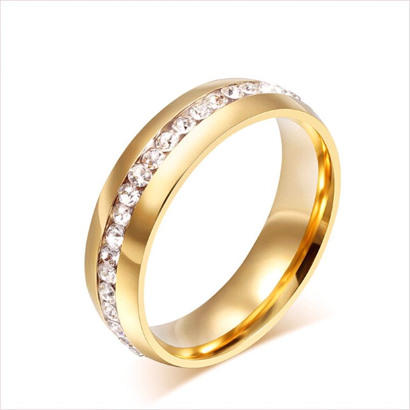 Zircon Carving Stainless Steel Wedding Ring Rings For Men