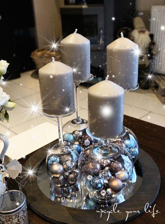 Centros de mesa para navidad color plateado centros de - Centros de mesa navidenos hechos a mano ...