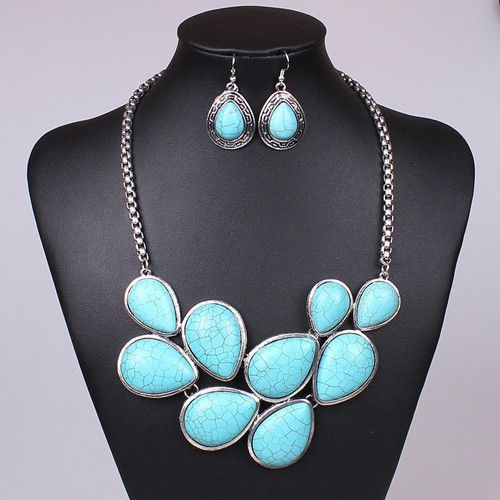 Teardrop Fashion Blue Turquoise Tibet Silver Statement Bubble Chain Necklace | eBay