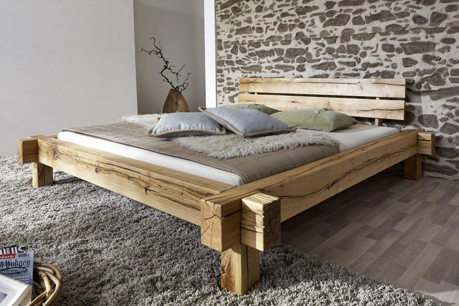 Doppelbett Bett Balkenbett 180x200cm Wildeiche Eiche massiv geölt ...