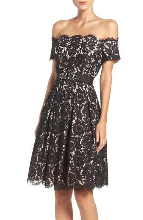 ca204dfa13f Main Image - Eliza J Embellished Lace Fit   Flare Dress (Regular   Petite)